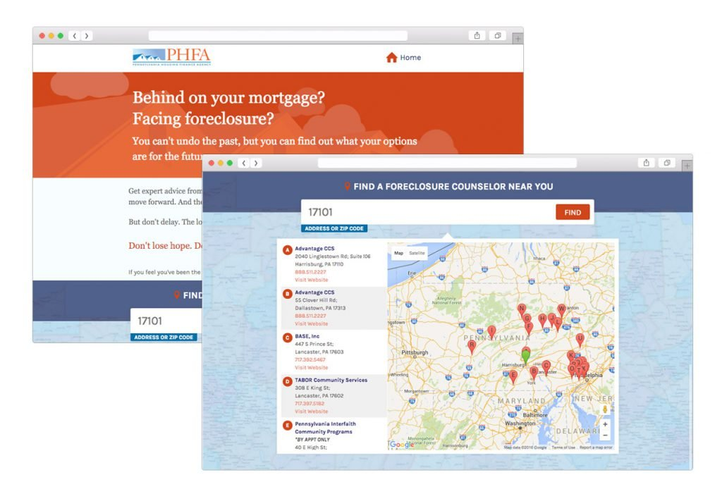 We developed a landing page with a locator to help homeowners find a local foreclosure agency.