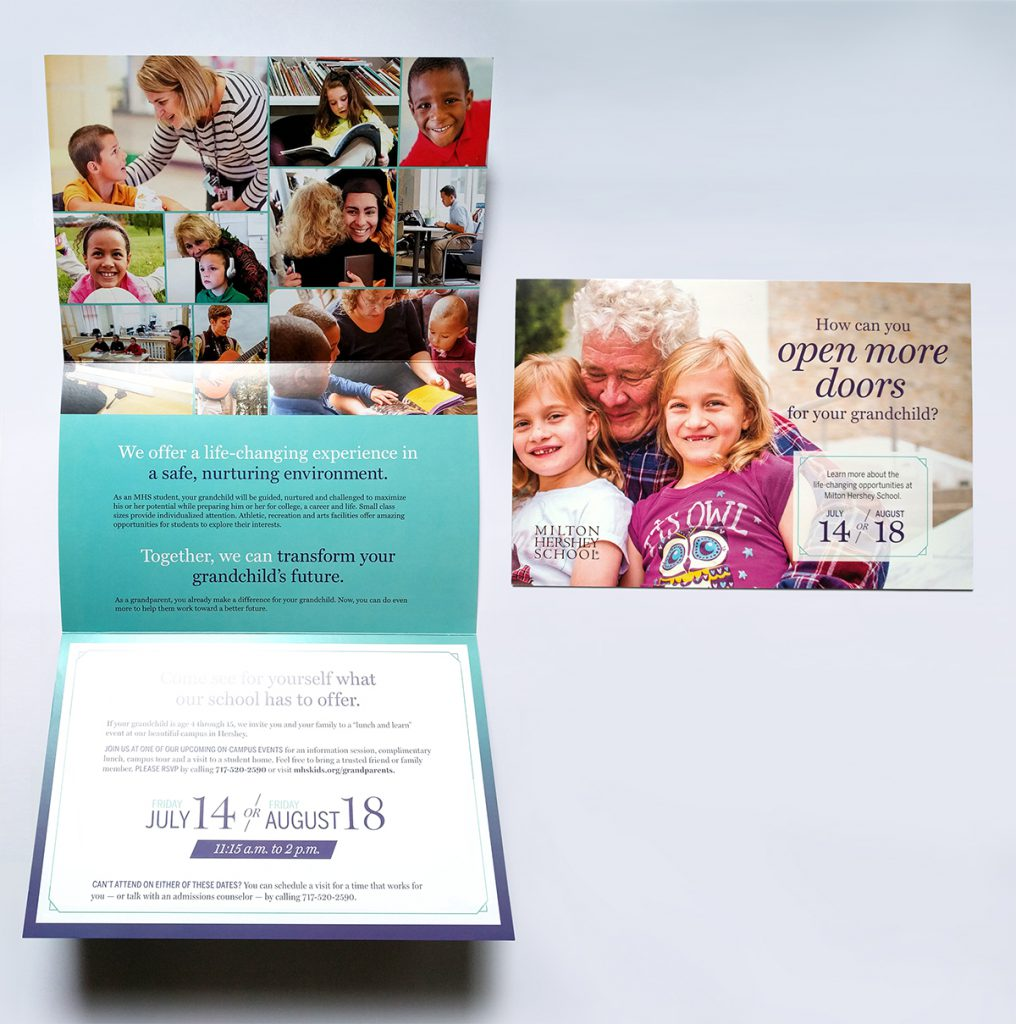 student recruitment direct mail piece for Milton Hershey School