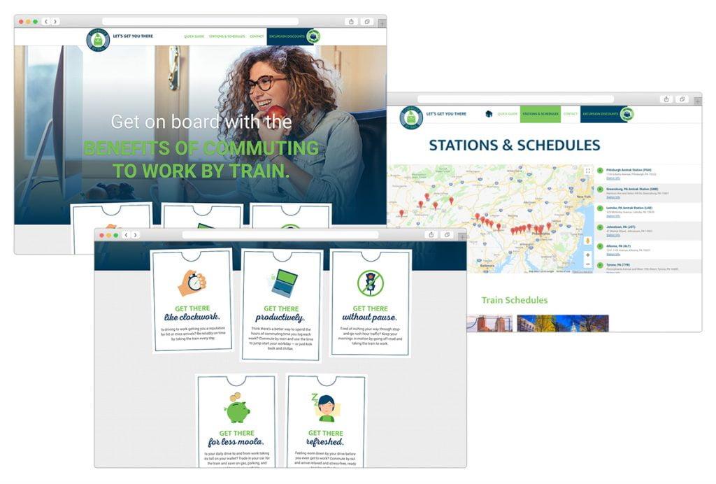 Screenshots of CommuteByRail.com