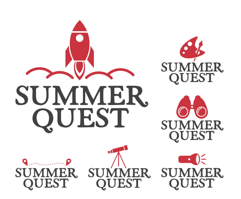 Summer Quest Program logos with varying icons for rocket ship, binoculars, flashlight and others.