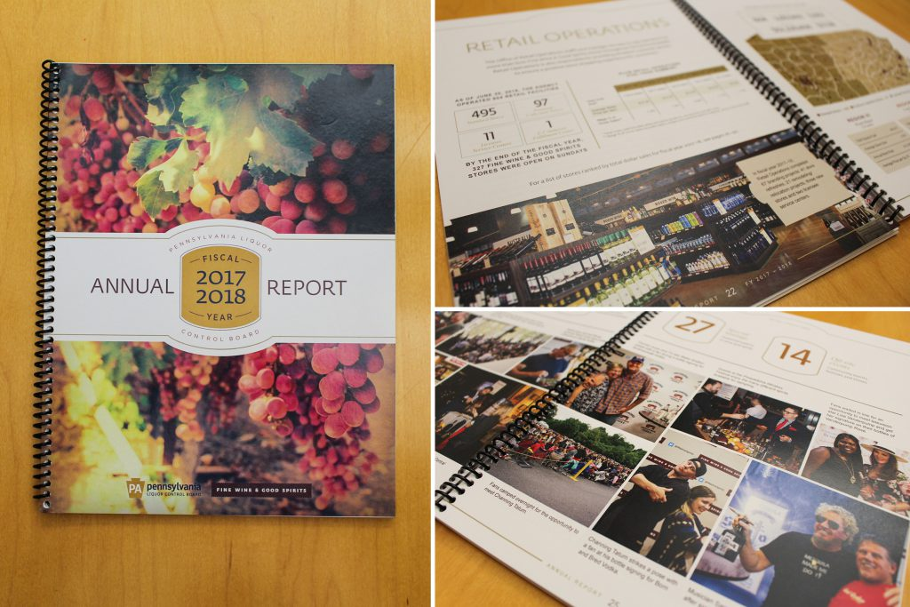 Photo of annual report cover and 2 spreads.