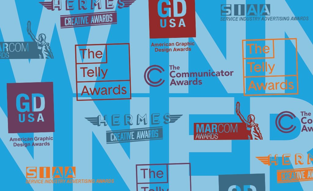 Artwork with logos from Hermes Creative Awards, GD USA, MarCom Awards, Communicator Awards, and Telly Awards.
