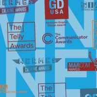 Artwork with logos from Hermes Creative Awards, GD USA, MarCom Awards, Communicator Awards, and Telly Awards.