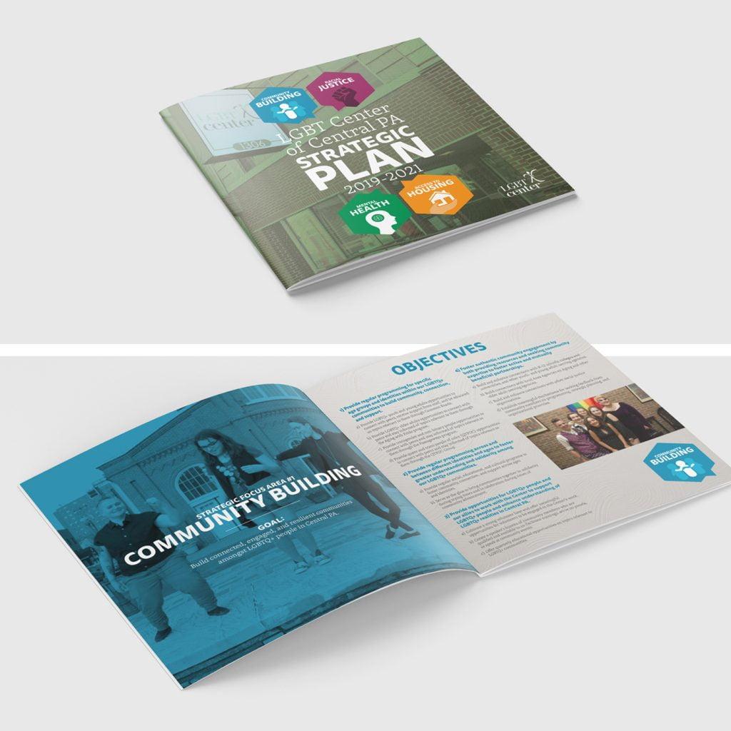 Mockup of the LGBT Center Strategic Plan Booklet