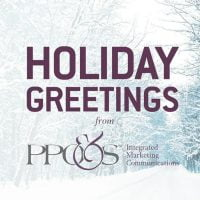 "snowy woods scene with the words ""Holiday Greetings from PPO&S"""