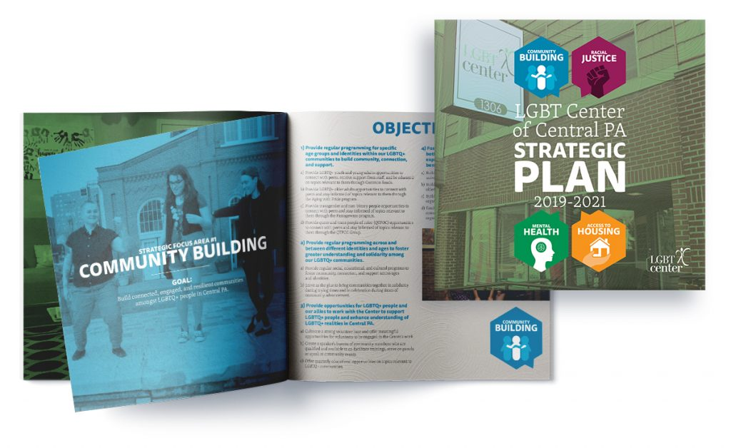Mockup of the strategic plan booklet for LGBT Center of Central PA