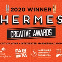 Artwork with Hermes Creative Awards and client logos.