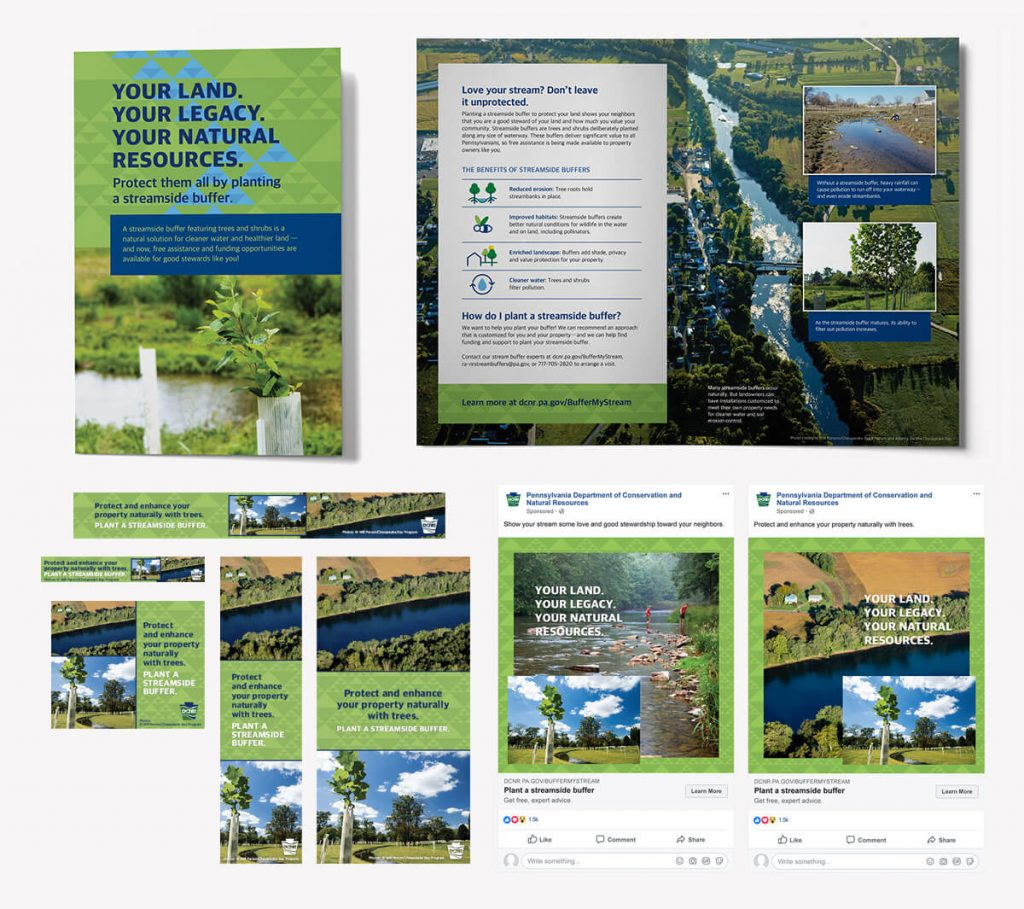 Showing mockups of the mailer, display ads and Facebook ads.