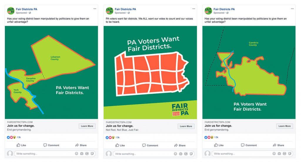 Showing three Facebook ad mockups.