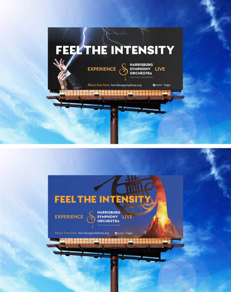 Two billboards: One with image of orchestra conductor hands shooting lightning out of baton and the other with a trumpet head forming an exploding volcano.