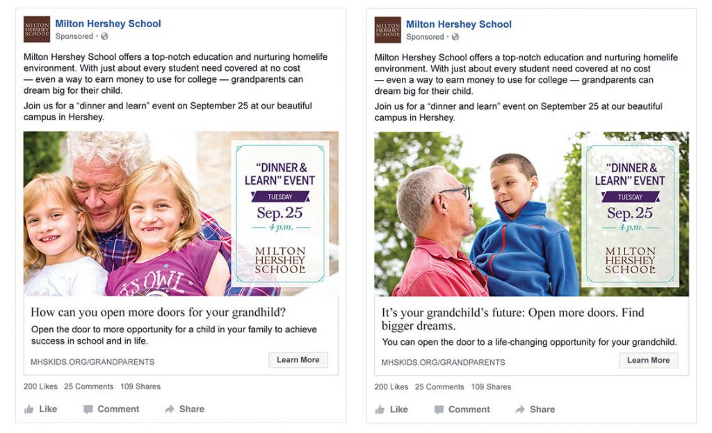 Showing two Facebook ads: One with a grandfather and young twin girls; the other with a grandfather and his young grandson.