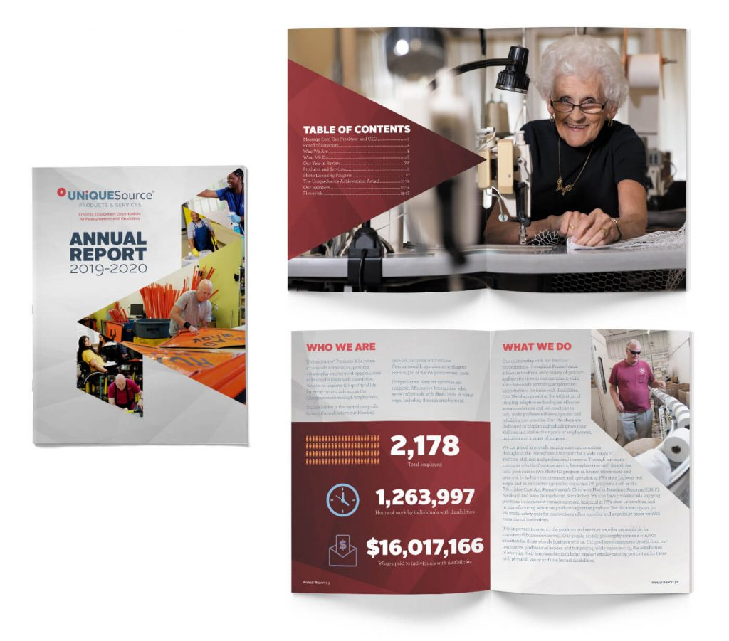 Mockup of annual report showing cover and two spreads.