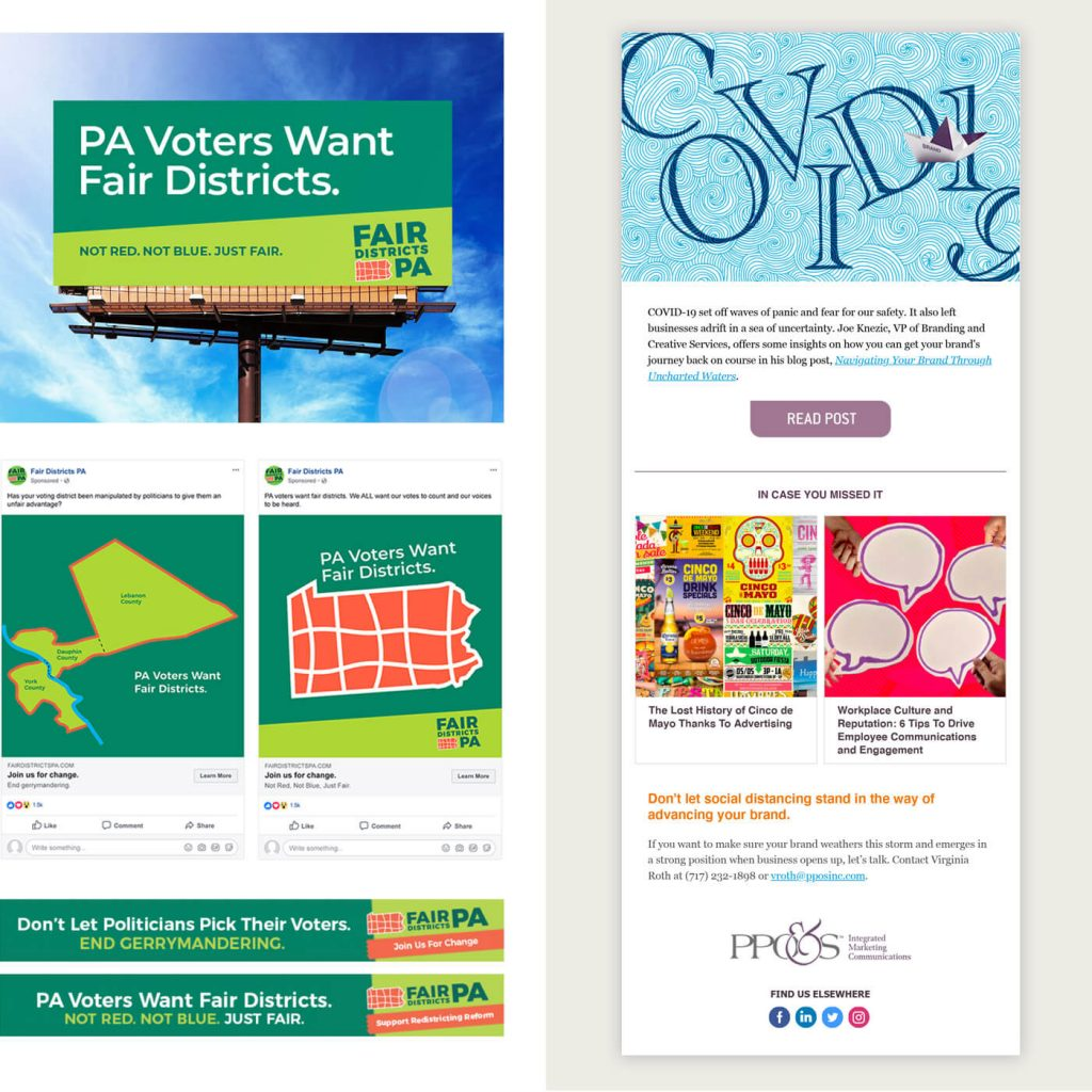 Showing display ads, billboard and Facebook ads for FDPA; also showing eBlast design for PPO&S.